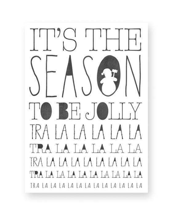 Zwart-Wit Kerst poster collage - 6 x-mas art-prints - Kerst Liedje