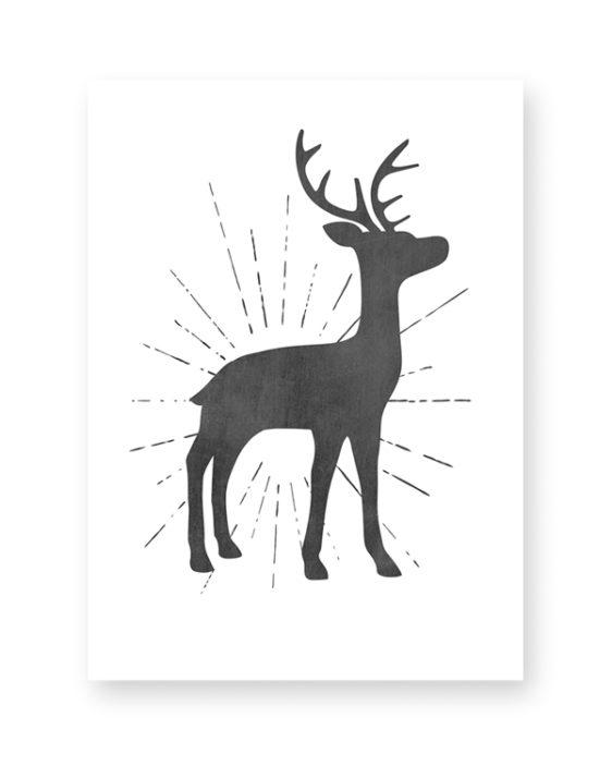 Zwart-Wit Kerst poster collage - 6 x-mas art-prints - Hertje