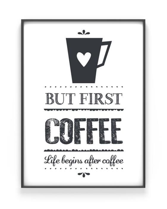 Koffie Print - Life Begins after Coffee Poster - Zwart-Wit Keuken Poster zelf maken bij Printcandy