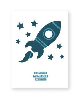 Poster kinderkamer maken - Raket - Love you to the moon and back - Printcandy