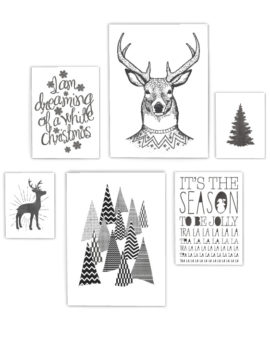 Zwart-Wit Kerst poster collage - 6 x-mas art-prints - Printcandy