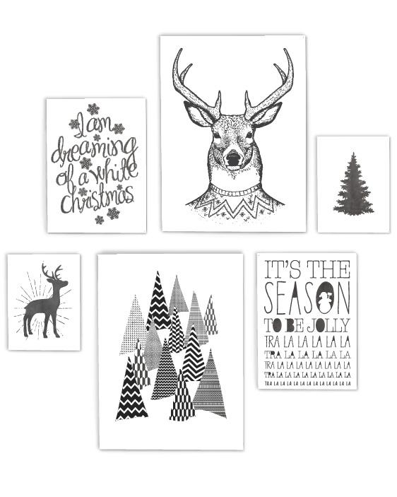 Zwart-Wit Kerst poster collage - 6 x-mas art-prints - Printcandy