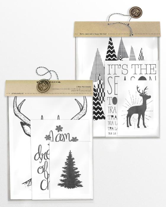 Zwart-Wit Kerst posters - 6 x-mas art-prints - Verpakking Printcandy
