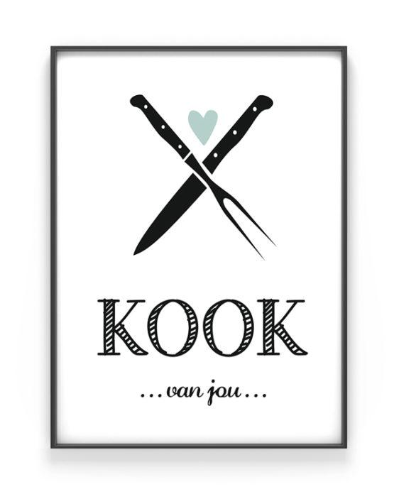 Kook van Jou Poster - Posters en Art-Prints voor in de Keuken met eigen tekst - in Zwart-Wit of kleur