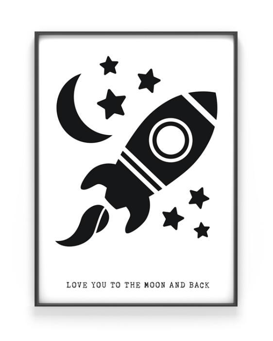 To the moon poster - poster zwart wit kinderkamer - Raket - Zwart-wit posters babylamer en kinderkamer zelf maken bij printcandy