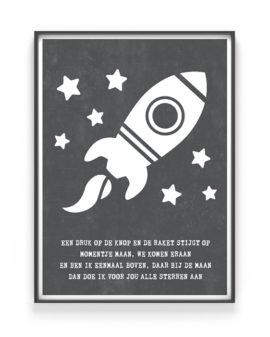 To the moon Poster - Zwart wit Tekst Poster Raket - Printcandy