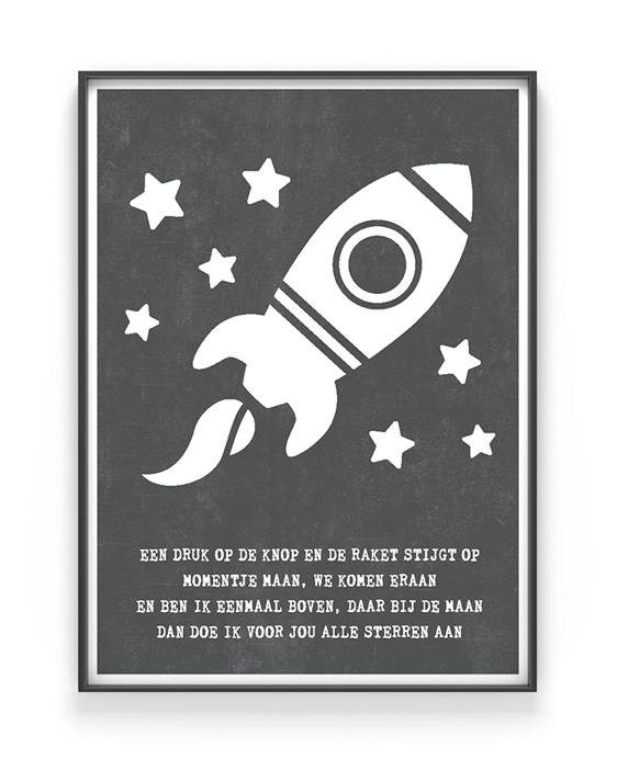 To the moon Poster - Zwart wit Tekst Poster Raket - Printcandy