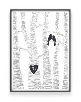 Love Birds poster - Gepersonaliseerde Trouwposter met Initialen - Zelf online posters maken