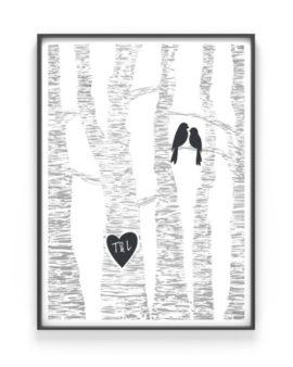 Love Birds poster - Gepersonaliseerd Valentijnscadeau met eigen namen