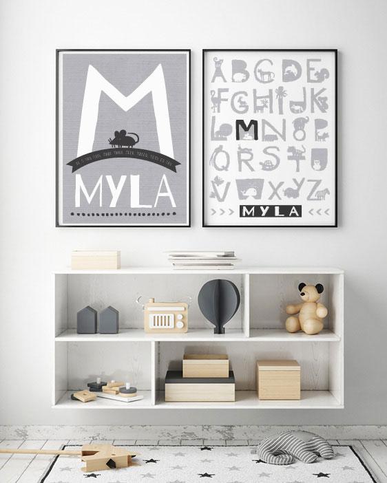 Dieren Alfabetposter met Naam poster - Printcandy