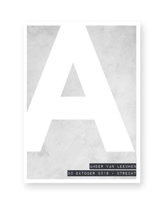 gepersonaliseerde zwart-wit letter poster met eigen tekst. Online zelf naam posters maken met eigen naam en kleur