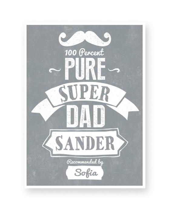 Superdad - Origineel vaderdag cadeau: Super Papa Poster met Naam