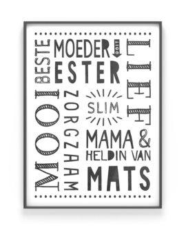 Gepersonaliseerde poster voor Papa en Mama | Moederdag Cadeau | Printcandy