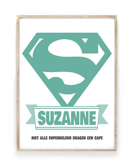 Superheld poster met naam en eigen tekst | Printcandy