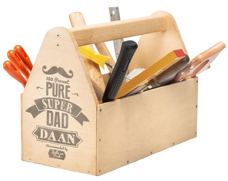 Printcandy Family-Print op houten gereedsschapskist voor vaderdag met 'Super Papa' Printable