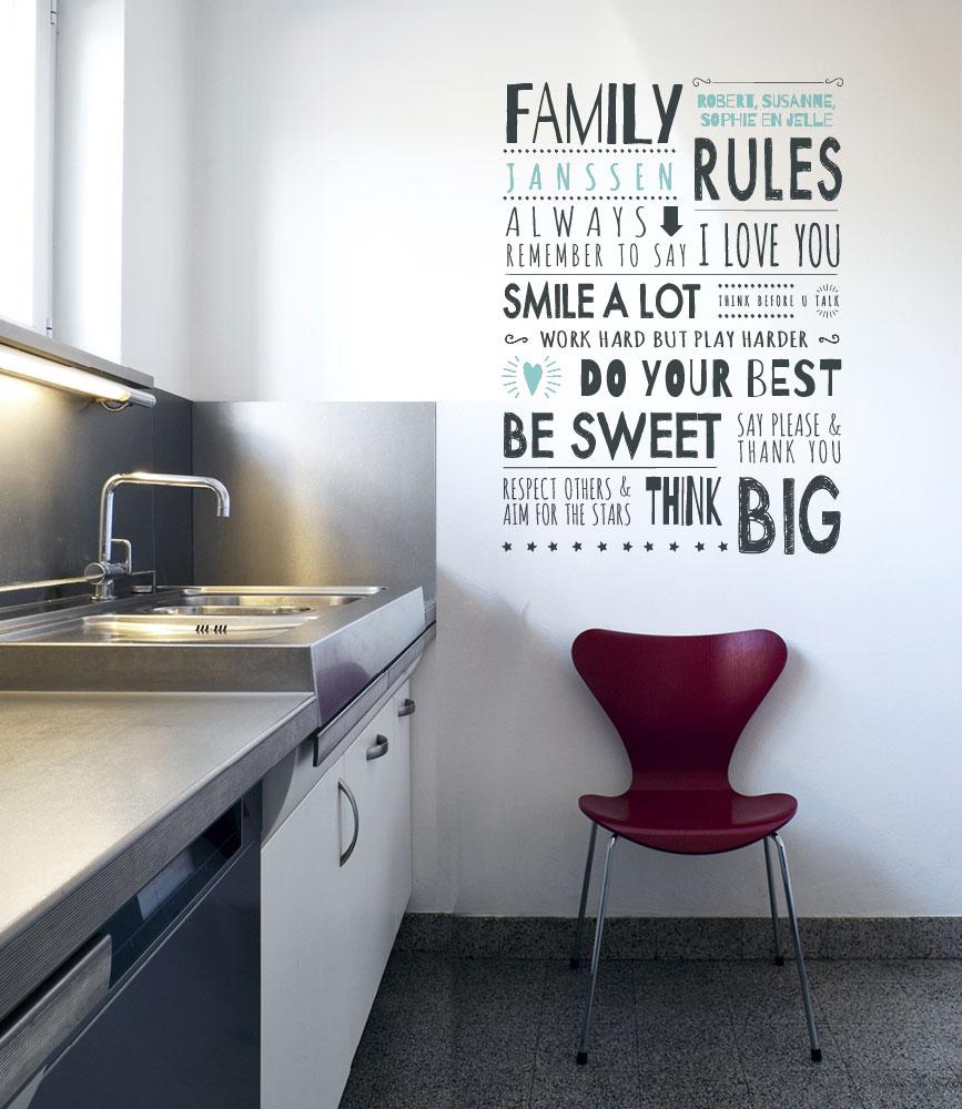 DIY Home idee: Print op de muur. FamilyRules als muursticker