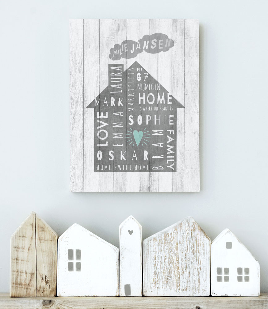 Home-DIY styling interieur idee: Family House op hout geprint.