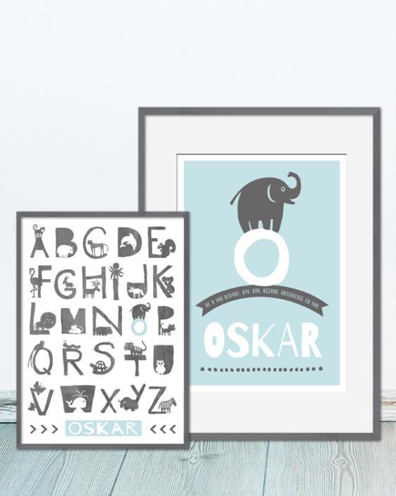 gepersonaliseerde art-print: dieren alfabet poster met eigen naam