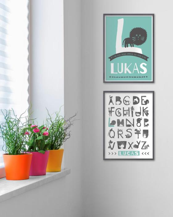 printcandy gepersonaliseerde alfabet dierenposters met eigen naam