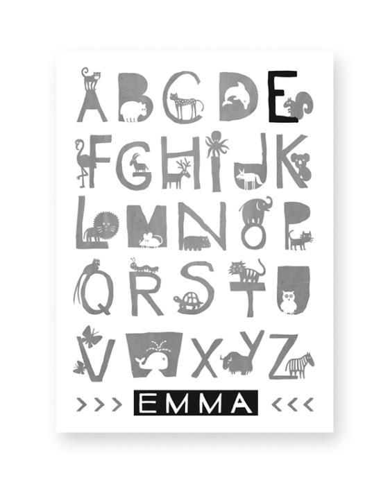 Alfabet naam poster in zwart-wit met kleuraccent - ABC dieren poster zelf maken bij printcandy