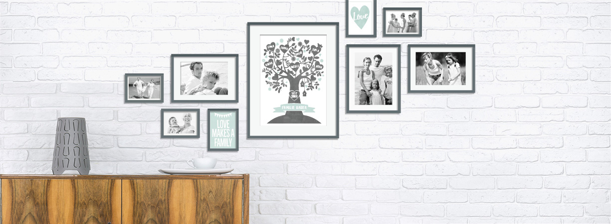 'Family' muur collage met foto's
