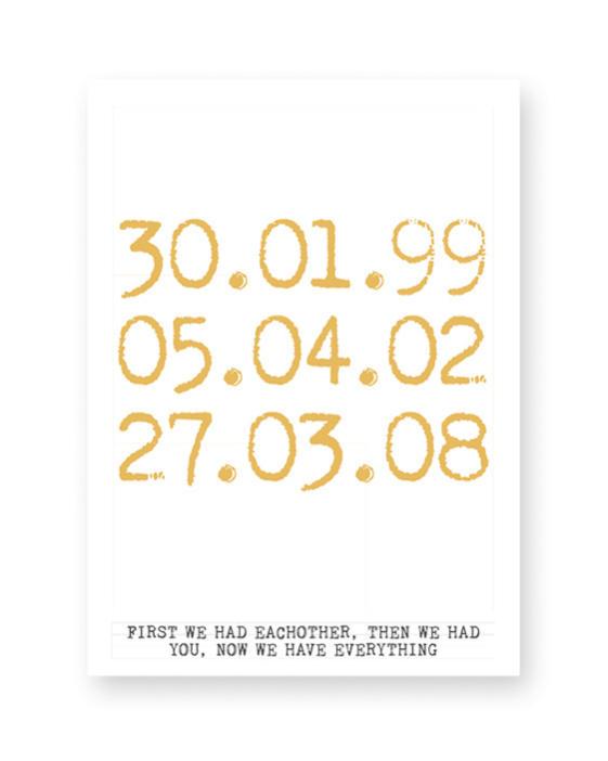 special dates poster - kleur-zwart-wit poster met eigen tekst zelf maken bij Printcandy