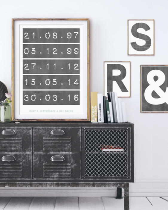 Special Dates poster - Gepersonaliseerde Posters met letters en cijfers