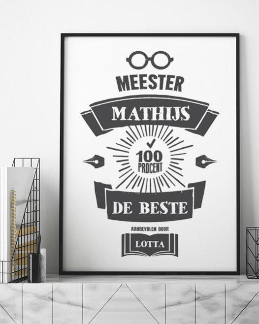 Cadeautje voor juf en meester - Poster met naam - Zwart wit