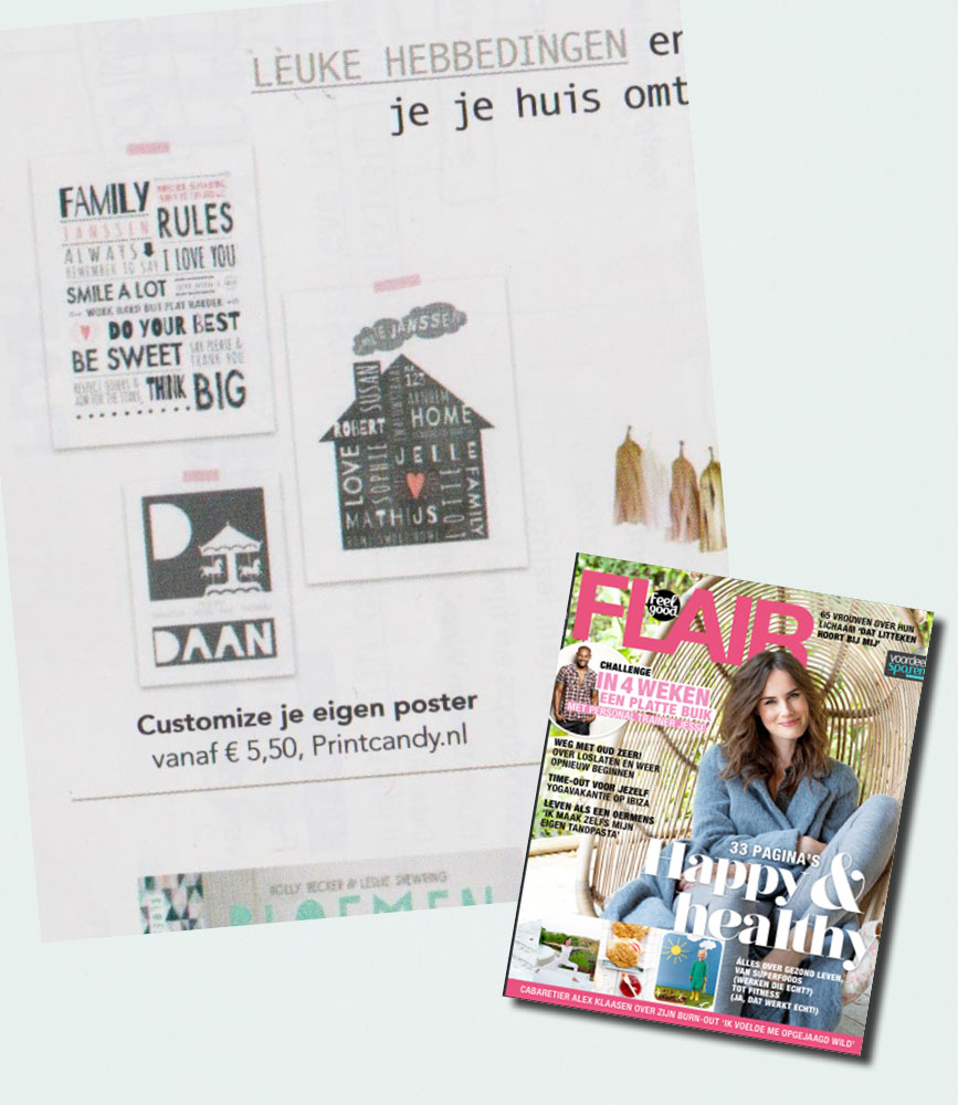 PrintCandy in de media gespot: Flair magazine