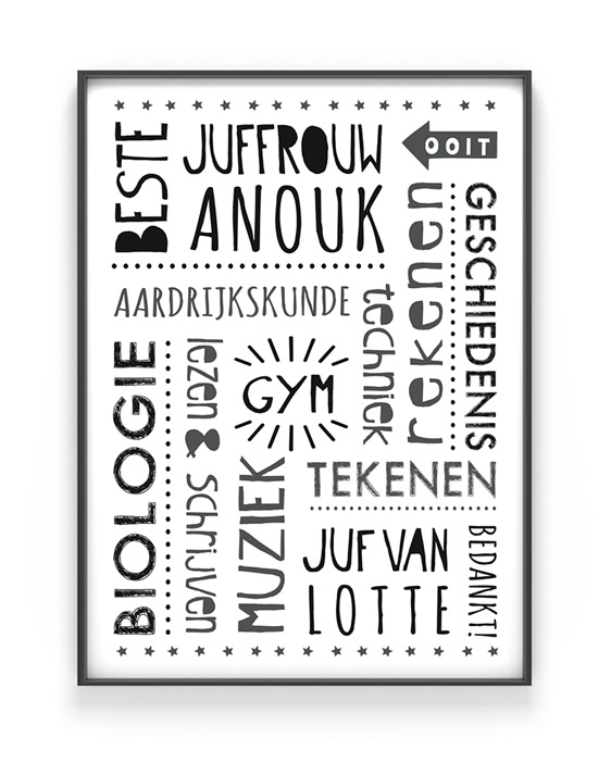 Gepersonaliseerde poster voor meester en juf - Printcandy