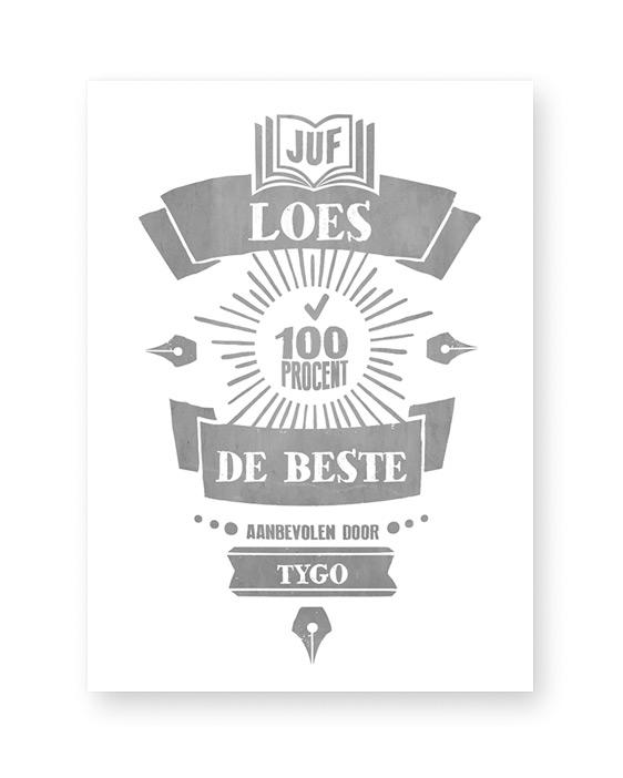 Gepersonaliseerd Kadootje voor Juf en meester met naam - Zelf online posters maken met poster editor