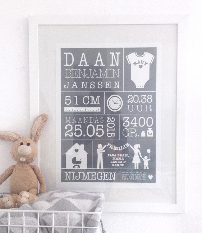 Online Geboorteposter maken - Persoonlijk en origineel cadeau, of voor op de kinderkamer: gepersonaliseerde baby geboorte poster met gewicht, lengte, naam en geboorteplaats printcandy.nl.