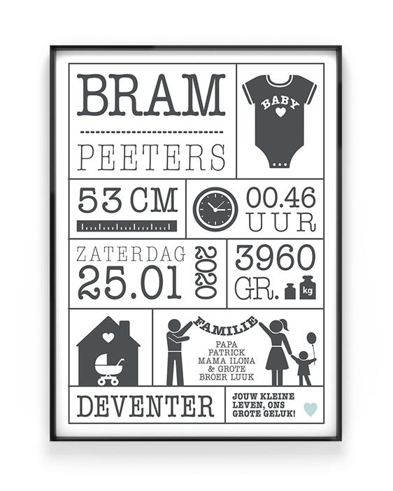 Persoonlijk en origineel cadeau, of voor op de kinderkamer: geboorteposter gepersonaliseerd met gewicht, lengte, naam en geboorteplaats printcandy.nl.