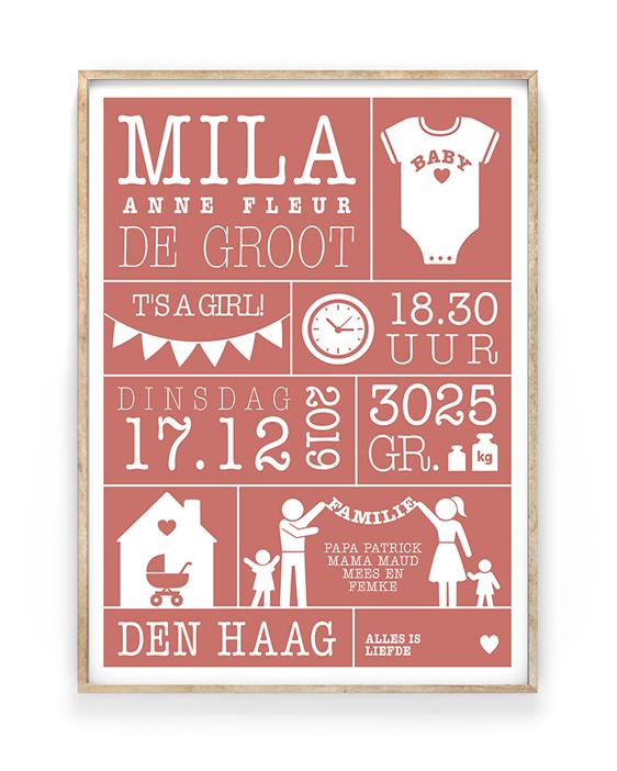 baby geboorteposter met eigen naam. Gepersonaliseerde poster/print in diverse kleuren en gezinssamenstellingen. Met o.a naam, datum en geboorteplaats
