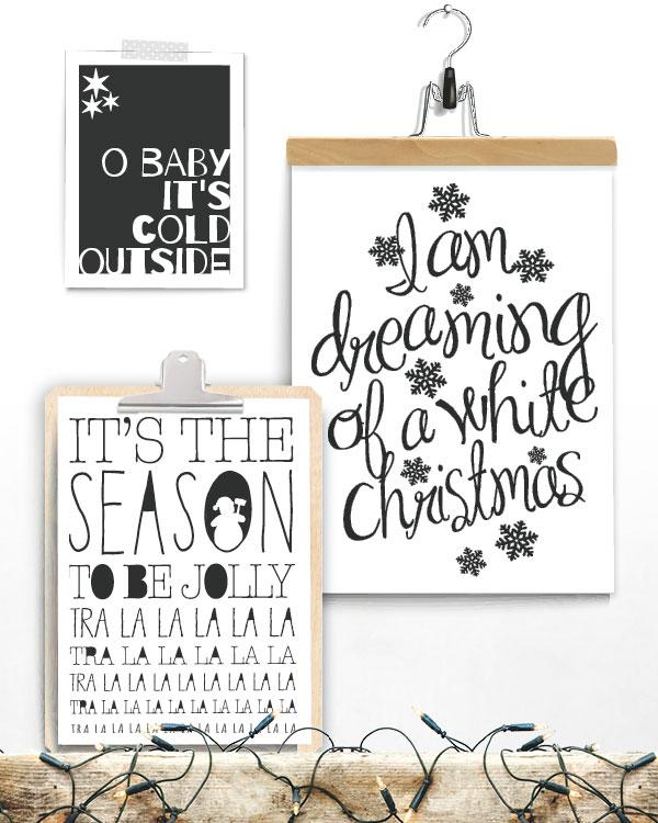 Zwart-Wit Kerstposters met quotes - 3 x kerstposter met kerst citaat uit bekende Kerstliedjes - incl. klembord hout en klemhanger