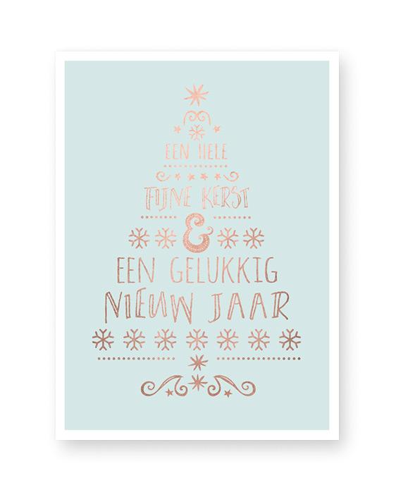 typografische kerst art-print met een kerstboom van woorden
