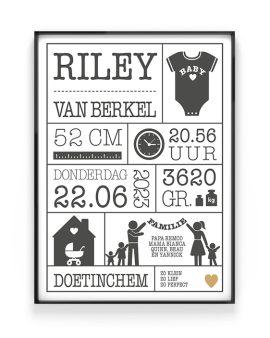 Gepersonaliseerde zwart-wit geboorte poster - Zelf een geboorteposter maken. Printcandy: In 3 simpele stappen Family- Text- en Art-Prints online personaliseren