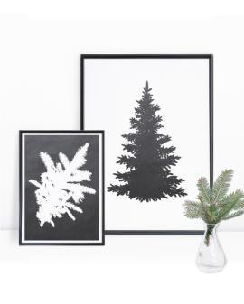 Kerst poster met dennentak en kerstboom - zwart wit