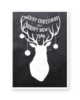 Kerst Gewei kerst poster - Printable kerstposter met eigen tekst zelf maken