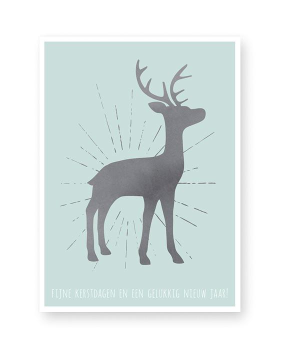 kerst poster met hertje - kleuren zelf customizen met poster-editor