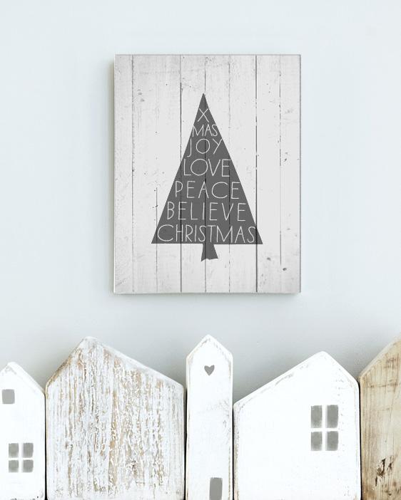 Christmas DIY- Printable Kerst Poster op Hout drukken