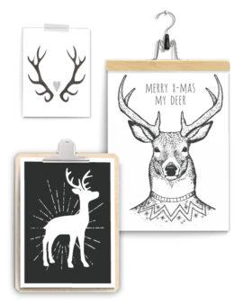 Zwart-Wit Kerst poster met Hertjes +++ Muurcollage van 3 x Kerstposter / art-prints inclusief klembord hout en klemhanger