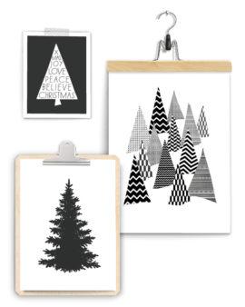 Dennenboom Posters Kerstcollage +++ 3 x zwart-wit kerstposter met denneboom / kerstboom inclusief klembord hout en klemhanger
