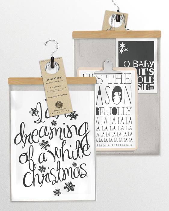 Quote Kerstcollag e- 3 zwart-wit kerst posters inclusief klembord hout en klemhanger in verpakking