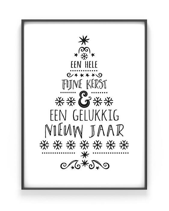 Zwart wit Kerstposter - Kerstboom woorden poster - Printcandy