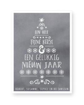 typografische kerst art-print met een kerstboom van woorden op grijze achtergrond