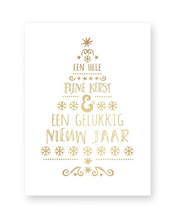 typografische kerst art-print met een kerstboom van woorden in kerstgroen