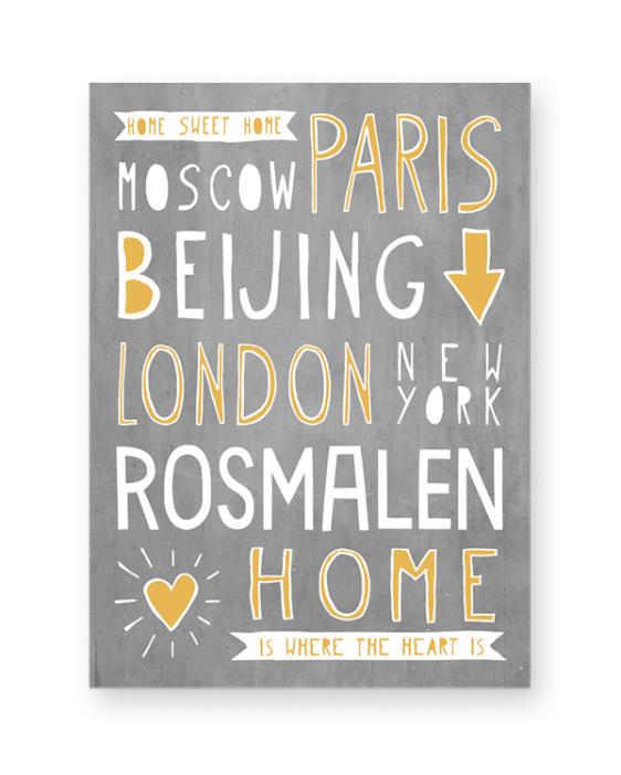 Poster Naam Stad - Gepersonaliseerde poster met naam van woonplaats online zelf maken in zwart-wit of kleur - printcandy