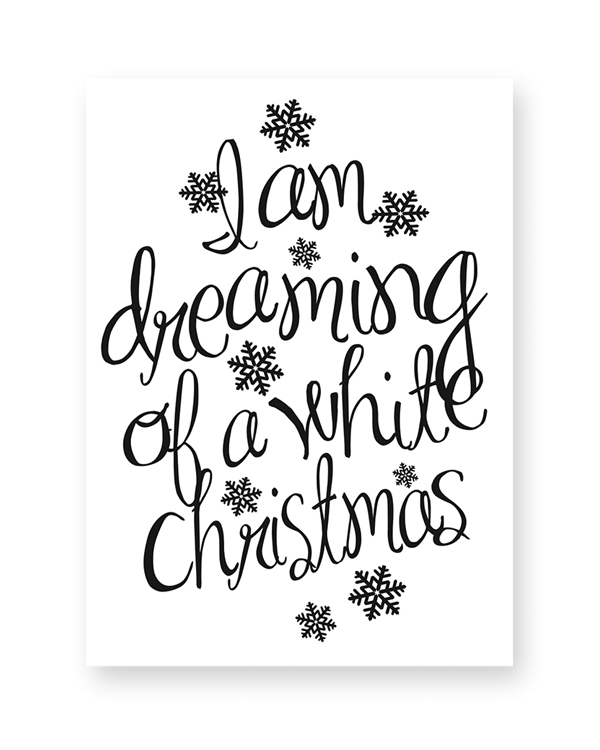 Zwart-Wit Quote Kerstposters - dreaming of a white christmas
