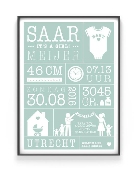 Baby geboorteposter met eigen naam, datum, lengte en andere geboortegegevens - Zelf online je poster maken